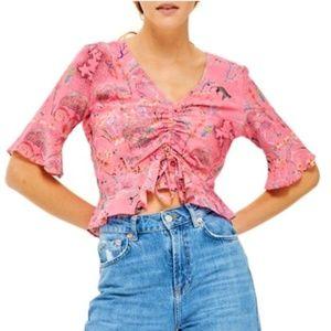 TOPSHOP NEW Pink Print Blouse Top Sz 8 M
